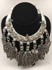 Vintage Afghan Kuchi Turkmen Jingle Chain Boho ATS Moon Shape Necklace, K411