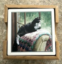Ceramic Black & White Cat Lover Quilt Coasters Set 4 Gift, 3.75 Barware