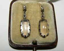 FABULOUS, VICTORIAN, STERLING SILVER EARRINGS WITH LUSH MOONSTONE GEMS