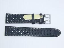 Di-Modell Impermeable perforado 20 mm Negro reloj banda correa Rallye Wapro Beige