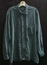Ted Baker Shell Button Shirt~sz 3 Large~Emerald Green~Soft Rayon/Poly~EUC
