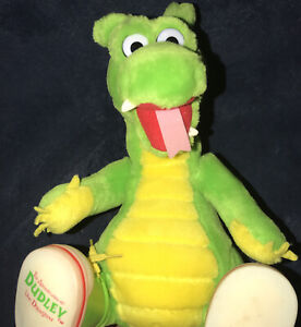 """Vintage Adventures of Dudley the Dragon 10"""" Green Plush Toy Sneakers 1995 VHTF"""