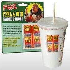 4pk Winning Game Soda Pieces - Great prank @ McDonalds or Burger King Drink Cups