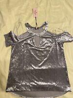 Juicy Couture Velour Womens Shirt Top Cold Shoulder Silver Velvet Medium