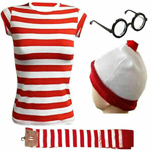 Ladies Women Where's Wally Red & White Strips T-Shirt Book Day Fancy Costume