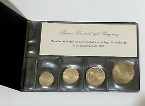 Uruguay 1977~1978 Uncirculated Coin Collection Set Sealed In Presentation Sleeve