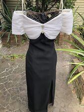 Vintage 80's Long Black Dress w/ Pleated Plisse Bust w/ Brooch & Drop Shoulders