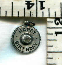 VINTAGE STERLING BRACELET CHARM~HAPPY BIRTHDAY WITH GEM~SMALLER~$8.99!!!!