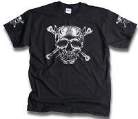 Skull Bones Daggers Pirate Biker Goth T Shirt Sleeve Prints Grunge Mens Sm-3XL