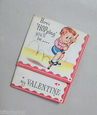 Vtg Valentine Card 40's Little Redhead Boy Pogo Stick UNUSED