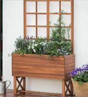 Garden Planter Trellis Wood Pot Outdoor Box Stand Plants Climbing Elevated NEW
