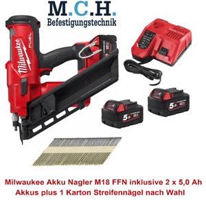 Milwaukee Akku Nagler 34° mit 2 Akkus und Ladegerät + 1 Karton Streifennägel