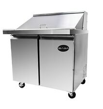 "New 36"" Mega Salad 2 Door Sandwich 15 Pan Refrigerator Prep Table Cooler Casters"