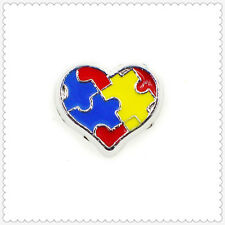 10pcs Puzzle heart Floating charms For Glass memory Locket Free shipping FC1581