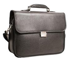 Black Lorenz Laptop Business Leather PU Large Case with a Combination Lock 6905