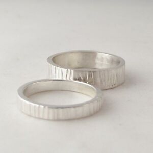 Lovely Handmade Tree Bark Textured Solid Sterling Silver Ring Various Widths
