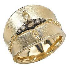 14 KT Yellow Gold Textured Cognac Diamond Design Wide Cigar Band Ring NEW