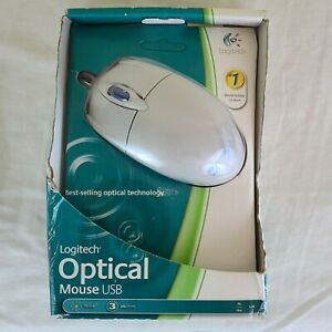2009 Logitech White Wired USB Optical Mouse 2 Buttons Scroll Wheel OEM New