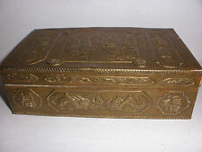 Antique 19/20thc Chinese bronze jewelry box with people and dragons scenes