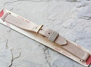 Sand color cotton canvas 13mm 2-pc USA made military watch strap NOS 1940s/50s