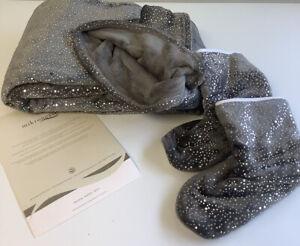 Mikronesse Plüsch Decke Kuscheldecke 150 x200cm  + Hausschuhe grau glitter L3+