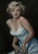ZWPT617 Marilyn-Monroe charmed girl portrait hand paint art oil painting canvas