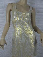 TIGERLILY NIGHTS gold silver silk blend geometric print shift dress size 12 BNWT