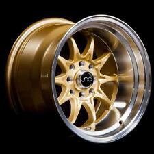 JNC 003 15X9 4X100/4X114.3 +0 GOLD MACHINED LIP 1 WHEEL/RIM