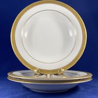 "WALLACE Porcelain Pantheon Gold Sri Lanka LOT OF 3 Soup Bowls 9"" diameter"