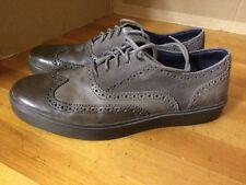 COLE HAAN brogue wingtip grey leather mens shoes sz 10 M