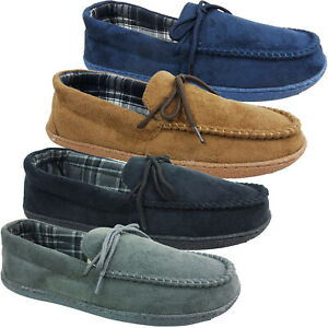 MENS GENTS HARD SOLE MOCCASIN LOAFER COTTON LINED SLIPPERS SHOES SIZE