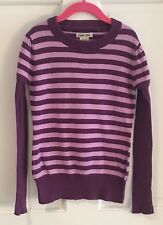 Girl's Purple Striped Sweater Size Medium 7/8 Super Cute Great Condition