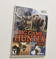 Nintendo Wii Cabelas Big Game Hunter 2010 Shooter Complete w/ Manual