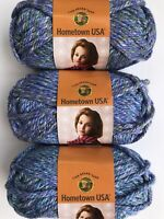 Lion Brand Yarn Hometown USA Jersey Gardens Lot of 3 Skeins 6 Super Bulky Blues