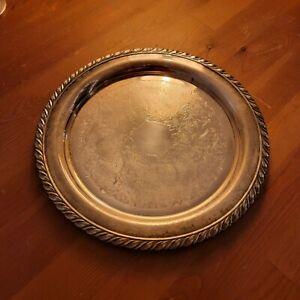 "Vintage Oneida  USA Silver Plate 10"" Diameter Coffee Tea Serving Tray"