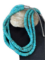 "Native American Navajo Sterling Silver 3S 6mm TURQUOISE HEISHI Necklace 24""01318"