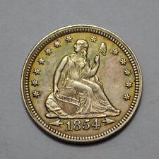 1854 ARROWS LIBERTY SEATED QUARTER SILVER AU / UNC 25C. !