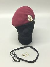 British Army-Issue Royal Engineers Para Beret, Collar Badges & Lanyard.Size 55cm
