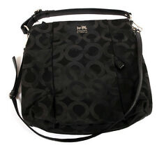 Coach Madison Op Art Sateen Isabelle Black Shoulder Bag 21121 Monogram Handbag !