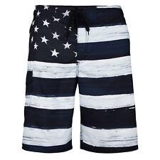 MEN'S American FLAG  SWIM TRUNK BOARD SHORTS Black & White OLD GLORY USA