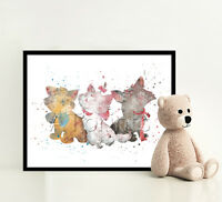 THE ARISTOCATS Disney Print Poster Watercolor Framed Canvas Wall Art Nursery