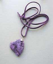 Long Purple Bamboo Agate HEART Pendant Necklace   KCJ728