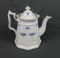 Antique Adderley Chelsea Blue Grape Footed Tea Pot with Lid
