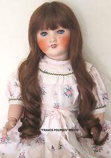 """perruque Jumeau®châtain/Auburn-36/37cm-poupée ancienne-doll wig head sz14/14.5"""""""