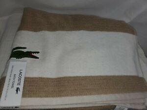"Lacoste Big Crocodile🐊 Logo Bath Towels 30x52"" Beige Cotton New with Tags"