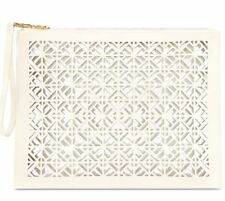 TORY BURCH White Perforated Patent Leather Clutch Bag NEW!