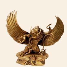 "12"" Tibetan Buddhism copper gilt hand made Garuda bird Buddha statue -2"