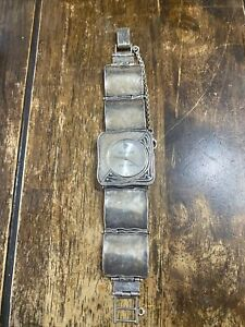 Silpada Designs T1372 Hammered Sterling Silver 925 Square Link Watch No Reserve