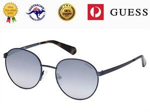 Guess Unisex GU5202 90C Blue Metal Frame Smoky Mirror Lenses Sunglasses