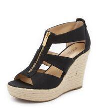 Women MK Michael Kors Damita Wedge Sandals Canvas Black
